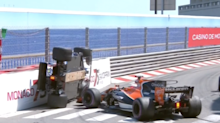 Pascal Wehrlein's car ends up roof-first in wall at Monaco Grand Prix