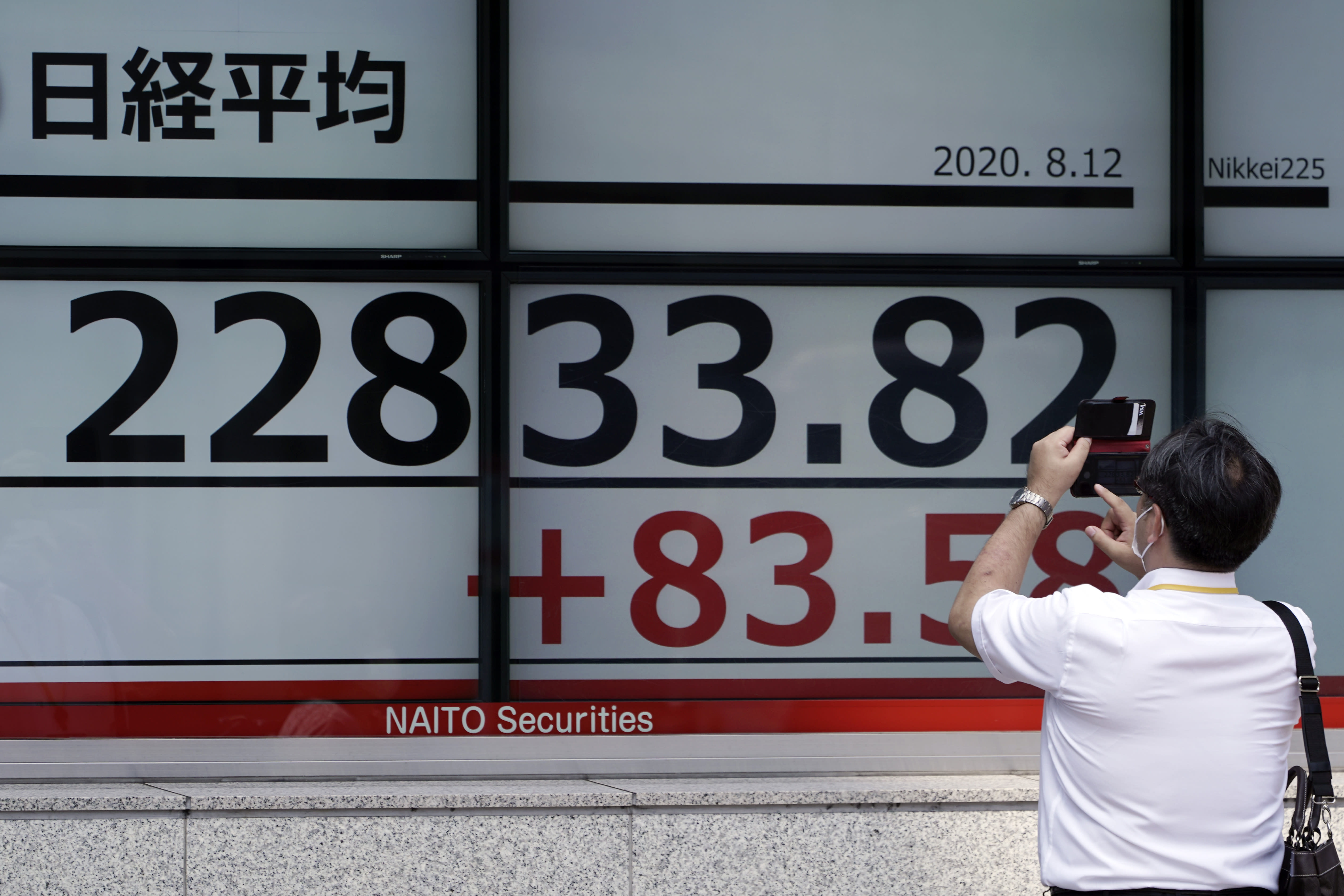 A man photographs an electronic stock board showing Japan's Nikkei 225 index at a securities firm in Tokyo Wednesday, Aug. 12, 2020. Shares were mostly lower in Asia on Wednesday after Wall Street pumped the brakes on its recent rally. (AP Photo/Eugene Hoshiko)