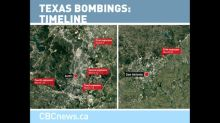 Map shows timeline of five Texas bombings