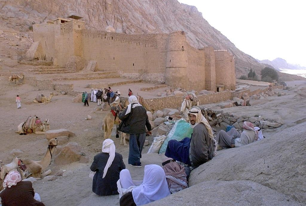 Egyptian Bedouins wait for tourists with their camels outside the walls of St Catherine monastery in the Sinai desert
