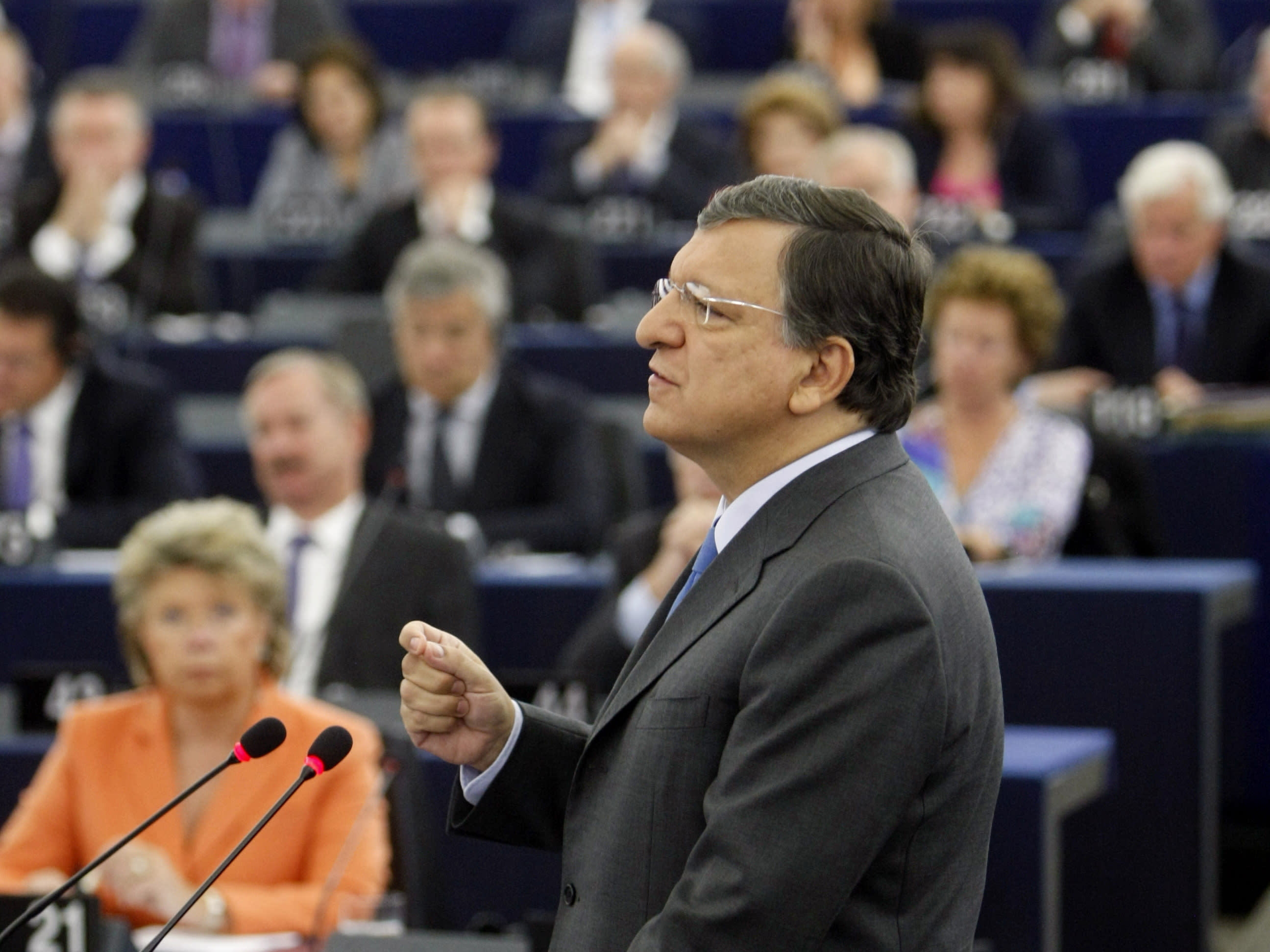 President of the European Commission Jose Manuel Barroso delivers his statement on the state of union, Wednesday, Sept 12, 2012 at the European Parliament in Strasbourg, eastern France. Barroso said that EU countries need to realize they are in the crisis together, and that they must work together to get out of it. The Commission is the EU's executive branch. (AP Photo/Christian Lutz)