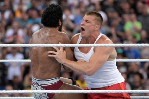 Rob Gronkowski at WrestleMania 33 earlier this year. (AP)