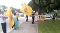 Protest Staged Outside Congressional Candidate Debate