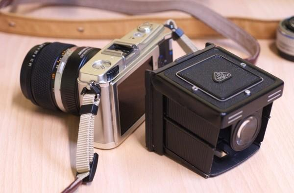 Olympus E-P1 outfitted with Rollei EVF
