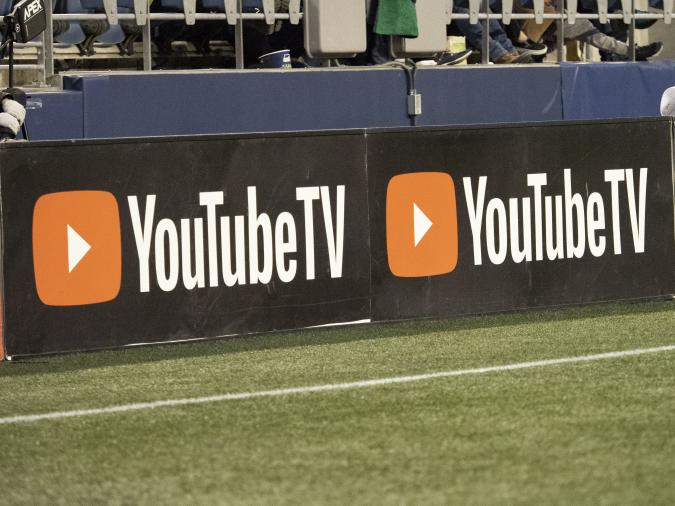 SEATTLE, WA - APRIL 06: A view of the YouTube TV logo before the MLS regular season match between Real Salt Lake and Seattle Sounders on April 06, 2019, at CenturyLink Field in Seattle, WA.  (Photo by Joseph Weiser/Icon Sportswire via Getty Images)