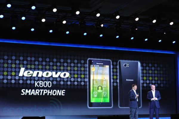 Intel's first Medfield smartphone is Lenovo's K800, coming first to China Unicom in Q2 with Android 4.0