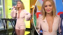 Rita Ora stuns in plunging jumpsuit on Sunrise