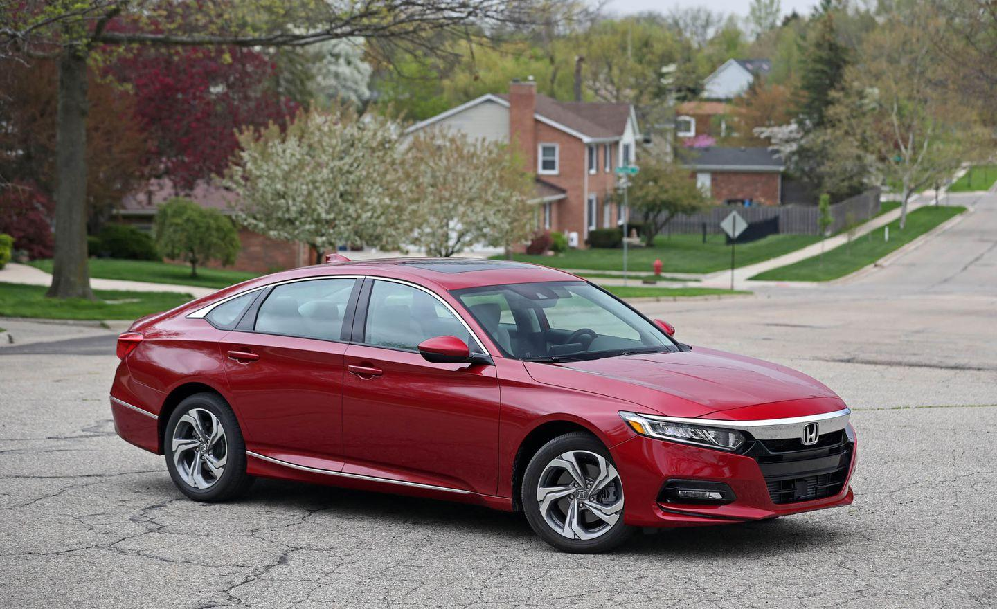 """<p>Why do we love the <a href=""""https://www.caranddriver.com/honda/accord"""" rel=""""nofollow noopener"""" target=""""_blank"""" data-ylk=""""slk:Accord"""" class=""""link rapid-noclick-resp"""">Accord</a>? Let us count the ways. This 33-time 10Best winner shows great attention to the details and does everything well. It's roomy, efficient, lively, and fun to drive while at the same time being quite refined. It's solidly built. Its interior is handsomely designed. The base 192-hp turbocharged inline-four-cylinder engine is peppy, and we love that you can get the Accord with a manual transmission. Honda's suite of active safety gear is standard. The Accord is priced right, too. In fact, our preferred model, the Accord Sport, adds visual spice and fatter, lower-profile tires and still comes in at a very reasonable $27,100. </p>"""
