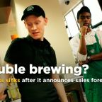 Starbucks sinks after announcing a weaker-than-expected sales forecast, plans to close over 100 stores next year