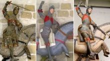 Défigurée par une restauration ratée, une statue de Saint-Georges reprend enfin ses couleurs