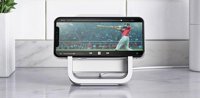 Logitech's wireless iPhone charging stand helps you watch movies