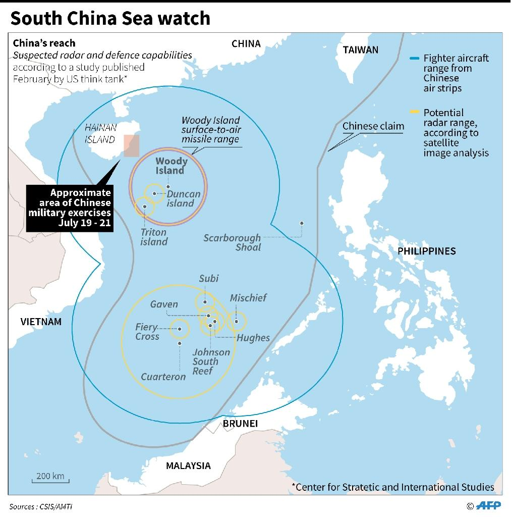 Beijing claims almost all of the South China Sea despite partial counter-claims from the Philippines, Vietnam, Malaysia and Taiwan (AFP Photo/Adrian LEUNG)