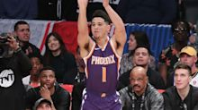 Suns' Devin Booker catches fire late to win 2018 JBL 3-Point Contest
