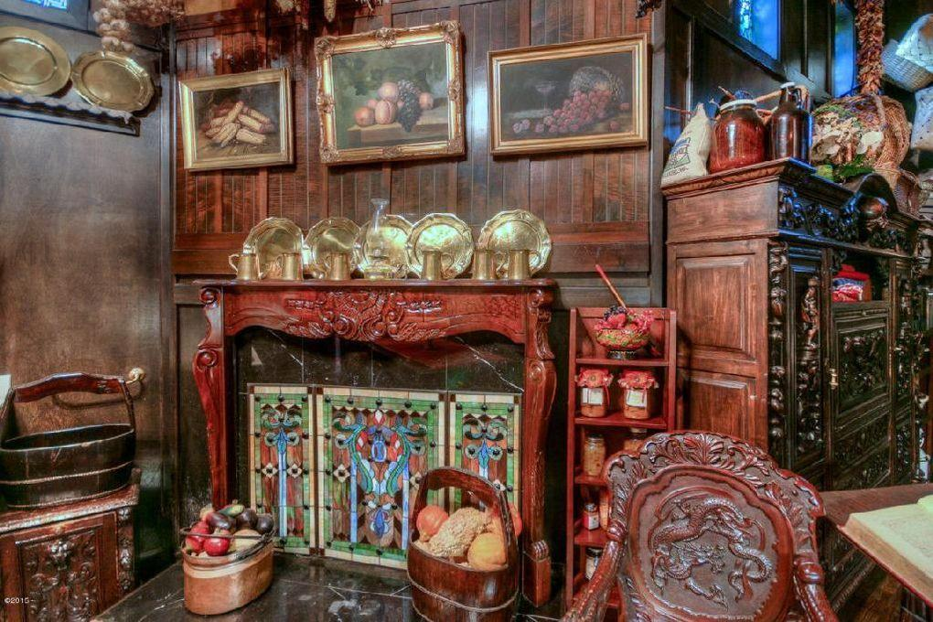 <p>The kitchen fireplace is made of the same woods used in making violins, typically ebony, rosewood, or boxwood. </p>