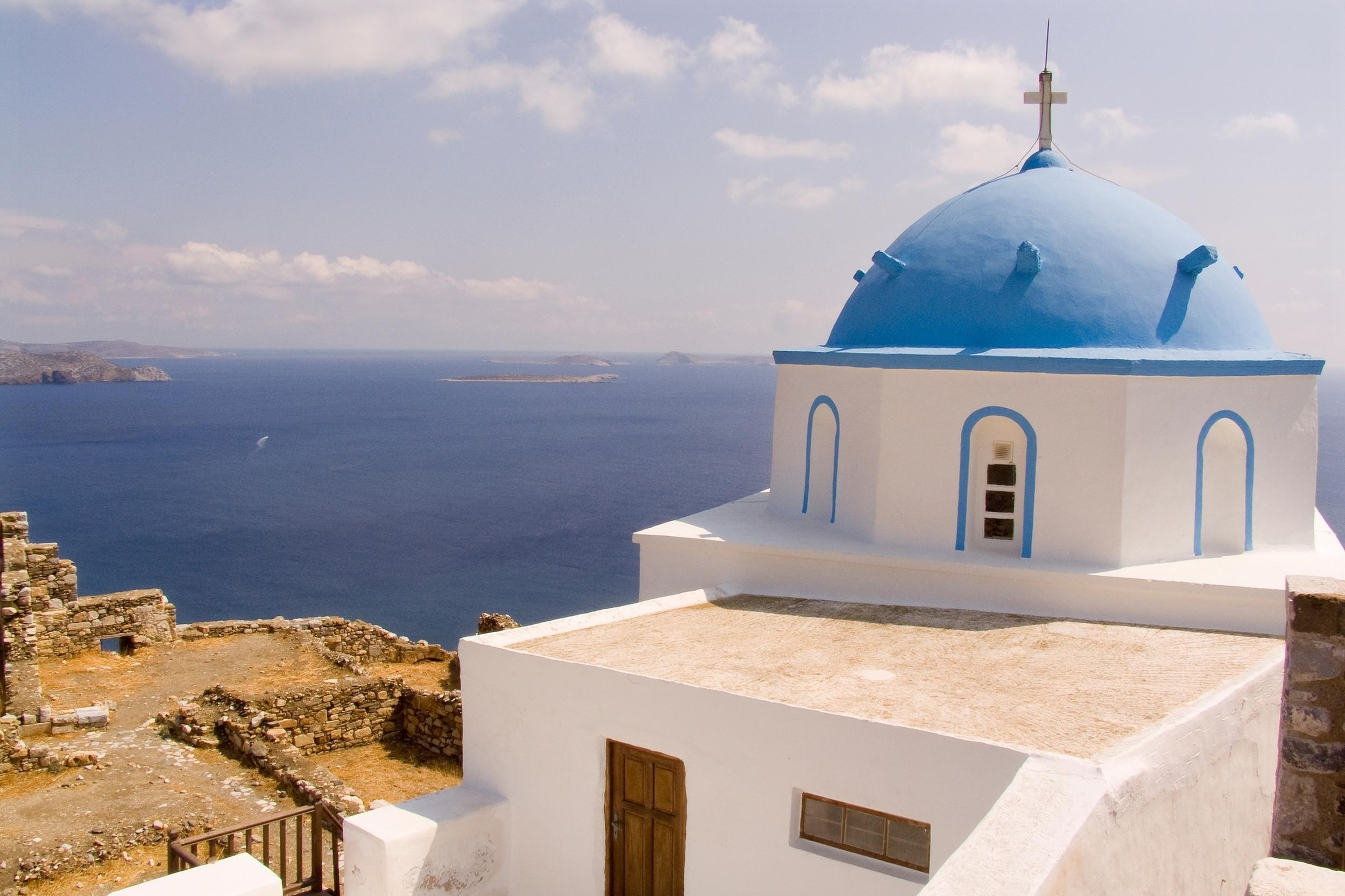 """<p>Butterfly-shaped island Astypalaia is part of the Dodecanese group in the southern Aegean and located far west of <a href=""""http://travel.aol.co.uk/guides/kos/"""" target=""""_blank"""">Kos</a>, boasting centuries-old history, whitewashed villages and sun-drenched beaches. The island is ideal for a secluded escape, a remote spot with 90 per cent of visitors from Greece. The capital town and port is Chora, one of the most picturesque towns in the Aegean. At its top is the castle towering over the town with the strikingly white domes of the Evangelistria and Agios Georgios churches visible over the walls. Around Astypalaia, the seaside village of Livadia, the Talaras Baths and their Hellenistic period mosaics, and the Chemeni Limni lagoon are must-sees.</p>"""