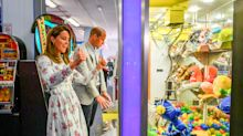Tidy! Prince William and Kate compete in Nessa's arcade as they visit Wales for first time since lockdown