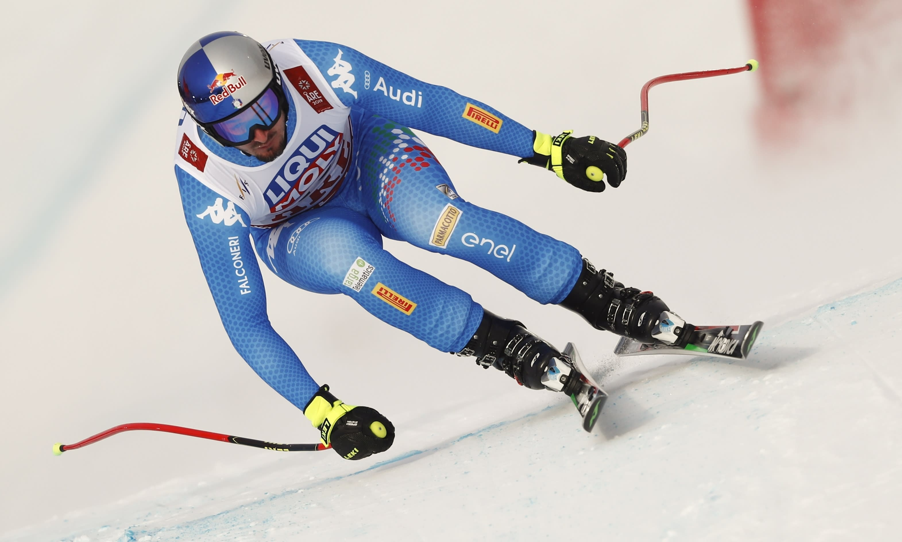 Italy's Dominik Paris speeds down the course during training for the men's downhill, at the alpine ski World Championships in Are, Sweden, Friday, Feb. 8, 2019. (AP Photo/Gabriele Facciotti)