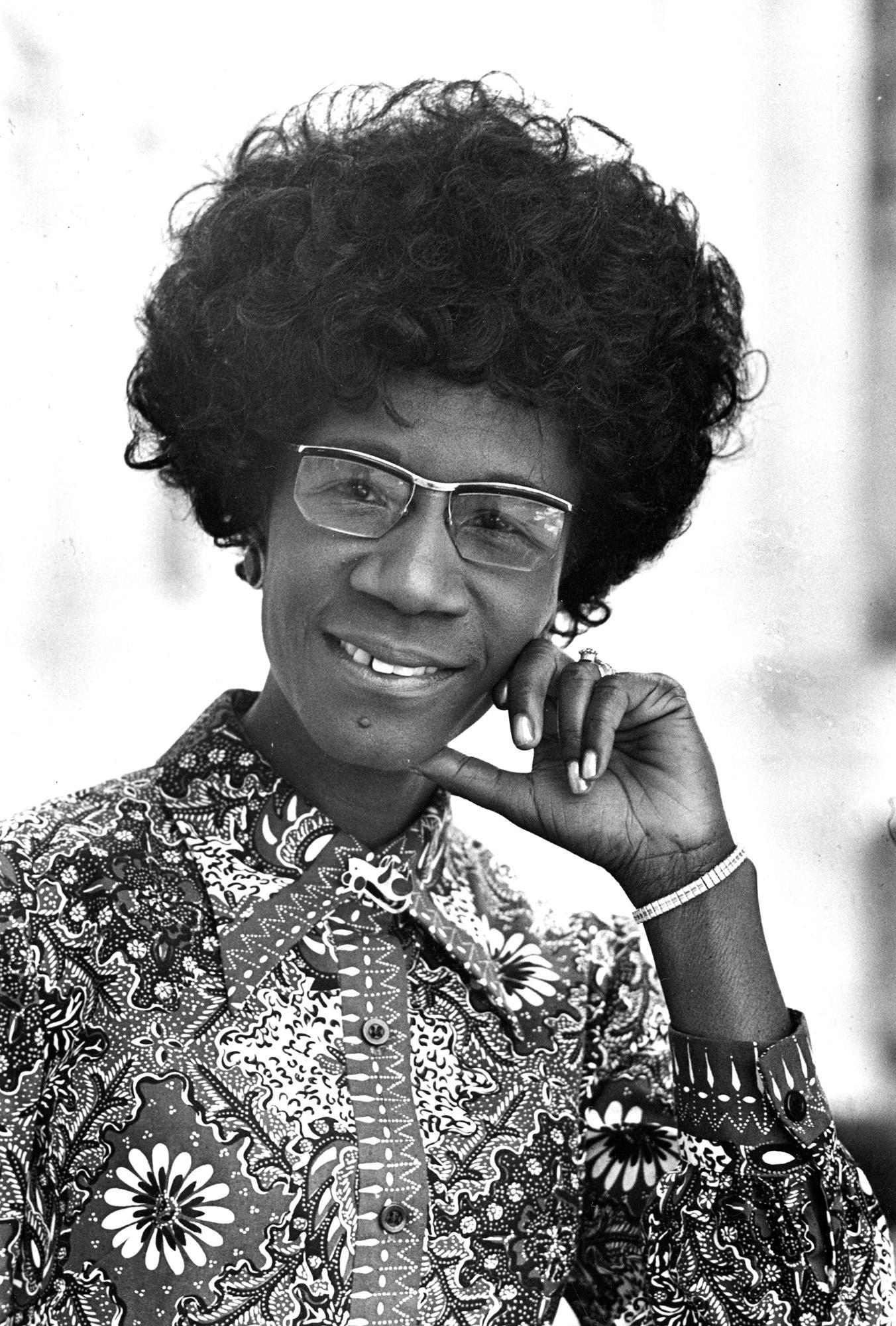 FILE- In this 1971 file photo, Congresswoman Shirley Chisholm, D-N.Y., is shown. The pioneering lawmaker will be honored with a statue in the New York City borough she served as the first black woman elected to the U.S. Congress. New York City officials announced Friday, Nov. 30, 2018, that a monument to Chisholm will be installed at the entrance to Brooklyn's Prospect Park. (AP Photo)
