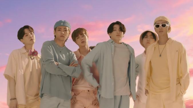 BTS in their 'Dynamite' music video
