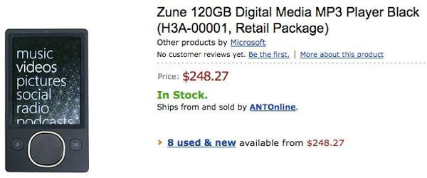 120GB Zune shows up on Amazon
