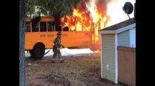 Students escape as school bus bursts into flames