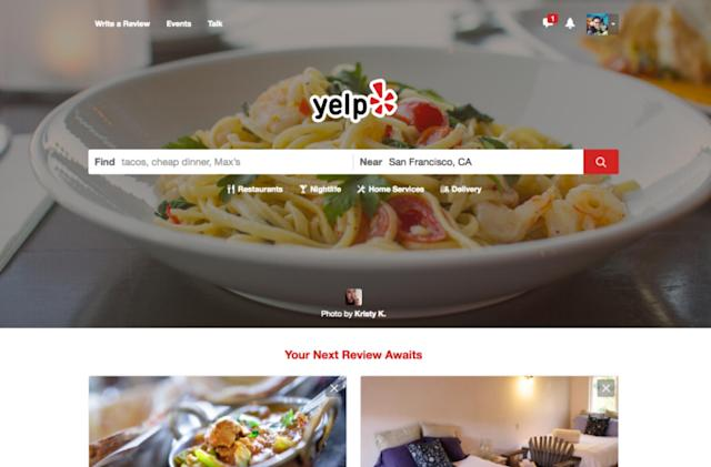 Yelp's redesigned homepage puts photos front and center
