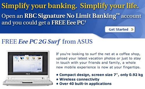 Canadian bank hands out free Eee PCs