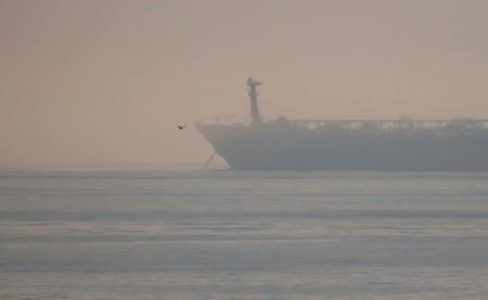 The anchor of the Iranian oil tanker Grace 1 is seen dropped in the Strait of Gibraltar