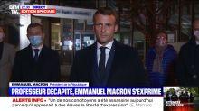 """""""C'est la première fois que je vois Macron très grave et ému..."""" : la prise de parole d'Emmanuel Macron à Conflans-Saint-Honorine, après l'attentat contre un enseignant, remarquée sur Twitter"""