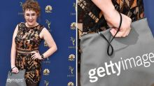 Comedian trolls the Emmys red carpet with a Getty Images purse