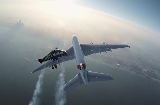 Watch two 'Jetmen' fly alongside an A380 superjumbo