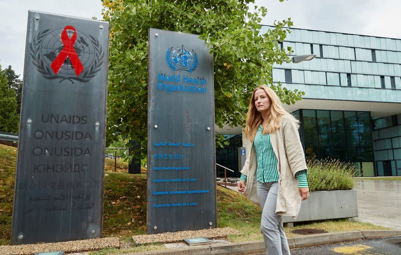 Brostrom former policy adviser at UNAIDS poses in front of the agency in Geneva