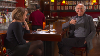 Katie Couric swigs whiskey with Larry David