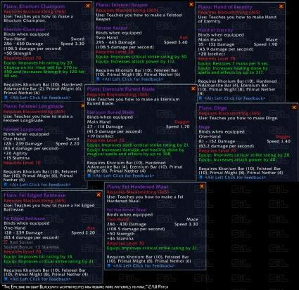 PTR notes: get your epic BoEs crafted now