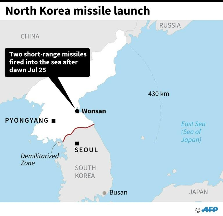 Map showing Wonson, from where two short-range missiles were fired into the East Sea early Thursday (AFP Photo/)