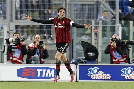 AC Milan's Kaka celebrates after scoring against Lazio during their Italian Serie A soccer match in Rome