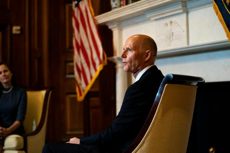 Republican senator Rick Scott speaks during a meeting with Supreme Court nominee Amy Coney Barrett at the US Capitol in Washington on September 29, 2020