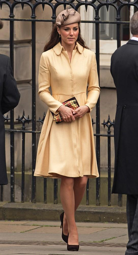Kate payed homage to Scotland with her clutch while she watched as Prince William was installed as a Knight of the Thistle in Edinburgh.