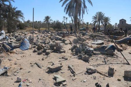 A view shows damage at the scene after an airstrike by U.S. warplanes against Islamic State in Sabratha