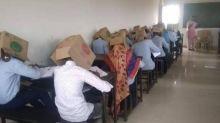 Escola obriga alunos a fazerem prova com caixa de papelão na cabeça
