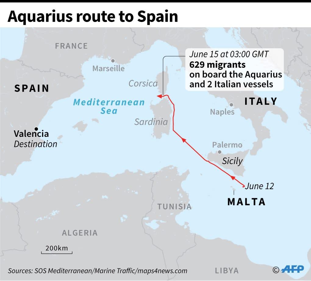 The path taken so far by the refugee ship Aquarius (AFP Photo/Paz PIZARRO)