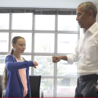 Greta Thunberg meets Obama and demands action from congress on climate change