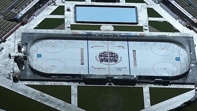 Ice ready for Kings-Ducks hockey game at Dodger Stadium