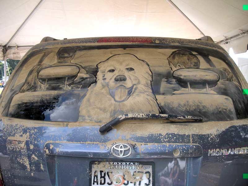 Днем, прикольные картинки на стеклах авто