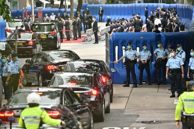 Security barriers were thrown up around the hotel overnight ahead of the inauguration ceremony (AFP Photo/Anthony WALLACE)
