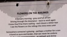 Mum stunned to find poem from stranger on railings where she leaves floral tribute to dead daughter each year