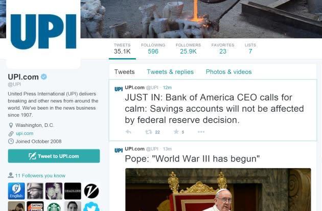 Twitter accounts for NY Post, UPI hacked to push fake WWIII alerts