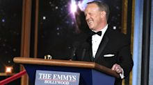 Emmys 2017: Sean Spicer drives podium onstage to address host Stephen Colbert