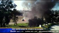 Street sweeper catches fire, explodes at CSU San Marcos