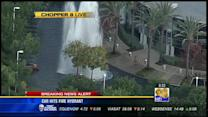 CHOPPER 8: Car hits fire hydrant in Sorrento Valley